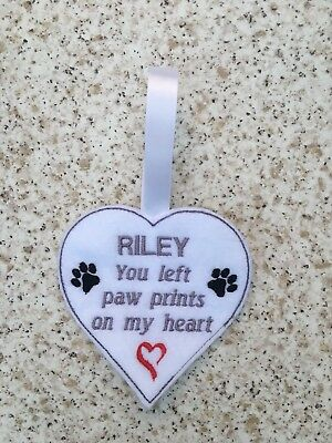 Pet memorial hanging heart, pet loss, in memory of, paw prints on my heart