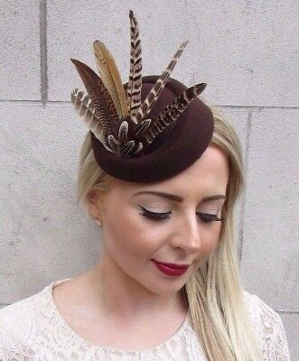 Brown Pheasant Feather Pillbox Hat Hair 1940s Fascinator Races Vintage Clip 3889