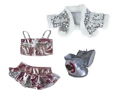 Teddy Bears Clothes fit Build a Bear Teddies Silver Bling Outfit + silver Boots