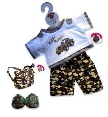 Teddy Bears Clothes fits Build a Bear Teddies Off Road Outfit with Bag & Shoes