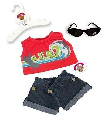 Teddy Bears Clothes fits Build a Bear Red Surfer Shorts Outfit FREE Sunglasses