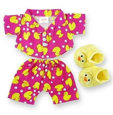 Teddy Bear Clothes fits Build a Bear Pink Duck PJ's and Slippers Bears Clothing