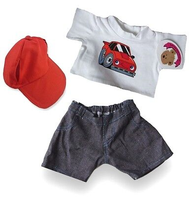 Teddy Bear Clothes fits Build a Bear Red Car T-shirt Jeans FREE Cap Outfit