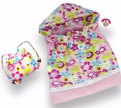 Teddy Bear Clothes fit Build Bears & Dolls Flower Sleeping Bag FREE Backpack bag
