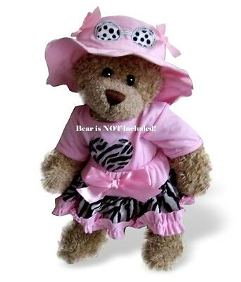 Teddy Bear Clothes fits Build a Bear Teddies Pink Zebra Outfit FREE Sunglass-Hat
