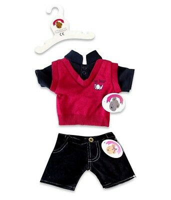 Teddy Bear Clothes fit Build a Bear Teddies Red and Black Casual Clothing Outfit