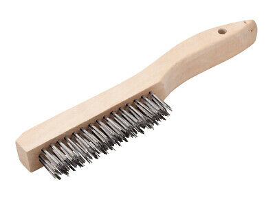 """3 Pack - 10-1/4"""" Wire Scratch Brush with Wood Shoe Handle Carbon Steel Bristles"""