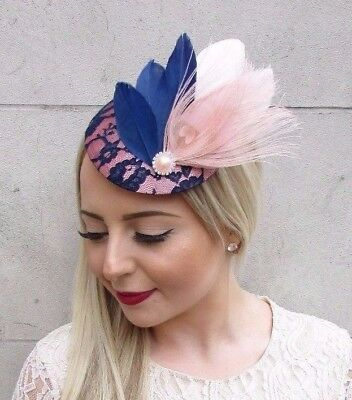 Navy Blue Blush Light Pink Feather Fascinator  Pillbox Hat Hair Clip Races 3891