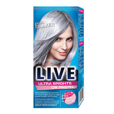 Schwarzkopf Hair Colour Live Semi- Permanent No.98 ,12-15 washes Steel Silver