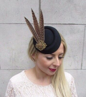 Black Brown Bronze Pheasant Feather Pillbox Hat Hair Fascinator Races Clip 3893