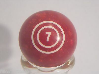 Vintage #7 Burgundy Solid Pool Ball ~ Lucky Favorite Number Display ~ Shift Knob