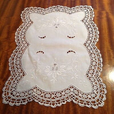 Beautiful Hand Embroidered Lace Edged Tray/Occasional Table Cloth