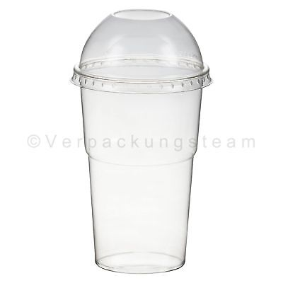 Smoothies Cups Dessertbecher + Domdeckel 200 ml Ø78mm PET glasklar Plastikbecher