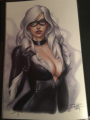 Sexy Black Cat Art Print Signed By Sabine Rich 11X17