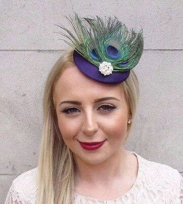 Dark Purple Green Peacock Feather Pillbox Hat Fascinator Hair Clip Races 3899