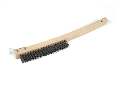 """3 Pack - 13.5"""" Wire Scratch Brush with Wood Handle and Scraper (Stainless Steel)"""