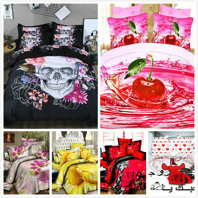 Skull Flower Unicorn Duvet Cover Pillow Case Quilt Cover Bedding Set King Size