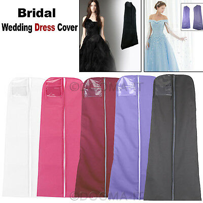 "UK 72"" Dustproof Wedding Dress Bridal Gown Garment Cover Storage Bag Carrier Zip"