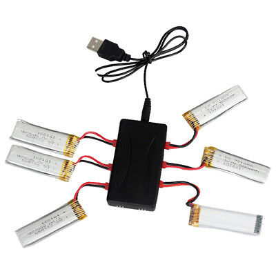 For UDI U818A U817A U817C Parts of 6pcs 3.7V 500mAh Battery Set+JST Charger P7T7