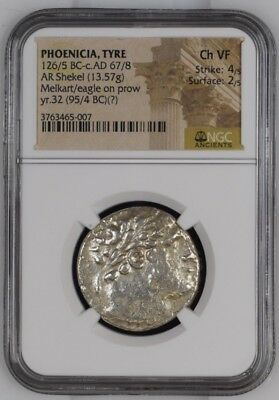 Ancient PHOENICIA, Tyre. 126/5 BC-AD 65/6. AR Silver Shekel (27.5mm, 13.58 g)