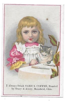 SARICA COFFEE VICTORIAN TRADE CARD MANSFIELD OHIO CAT at DINNER TABLE