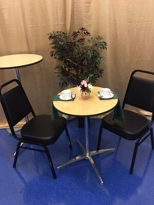 Lot of 40 Thickly Padded Black Vinyl Banquet Catering Stack Chairs