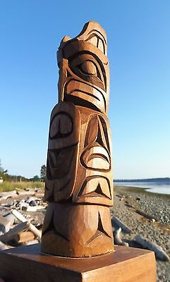 Northwest Coast First Nations Native wooden Art carving OWL Totem, signed,