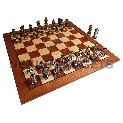 Hali Chess LARGE 15 Inch Game Set METAL Pieces Inlaid Wood Board, EXTRA QUEENS