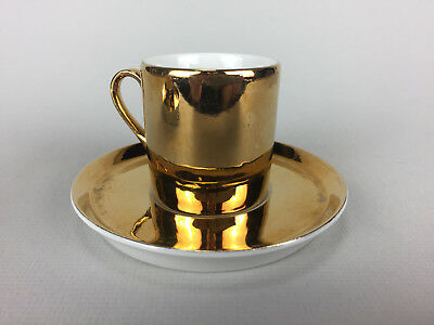 2 Vintage Horchow Coffee Tea Cups Mugs Gold with Saucers Japan Rare