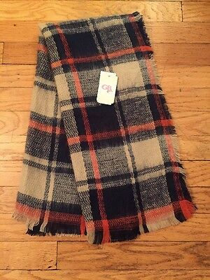 NWT GB Girls Girls' Scarf Wrap Navy Blue Orange Tan Plaid Lightweight Acrylic