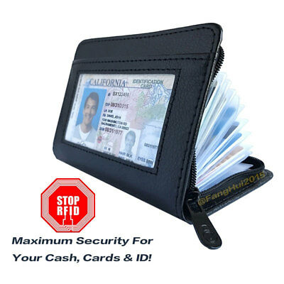Wallet RFID Blocking PU Leather Credit Bank ID Business Card Holder New