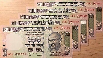 C) India Banknote 100 Rupees 5Pcs Unc --Nd 2013  Serial Number In Sql