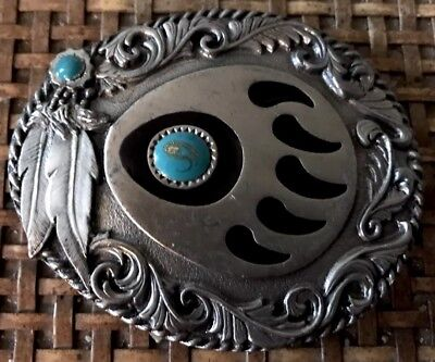 1995 Sisklyou Buckle Co Bear Claw With Two Turquoise Stones Belt Buckle