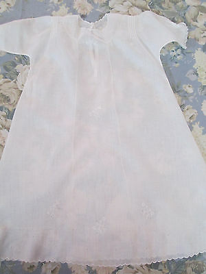 Christening Gown, Long ~ IRISH LINEN Vintage Handmade Drawn Work Embroidery Vtg