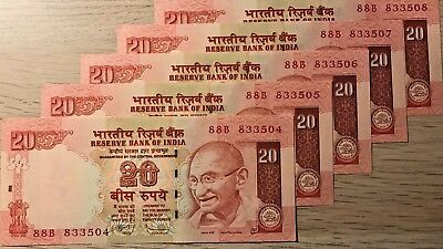 C) Indian Bank Notes 20 Rupees 5Pcs Unc -Nd 2010  Serial Number In Sql