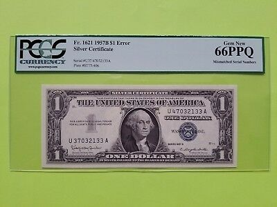 $1 1957B Silver Certificate Note PCGS66 (Mismatched S/N)