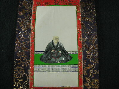 Vintage Japanese Buddhist Shrine Scroll With Monk