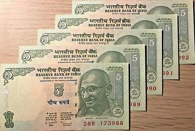 C) India Banknotes 5 Rupees 5Pcs  Unc - Nd 2010 Serial Number In Sql