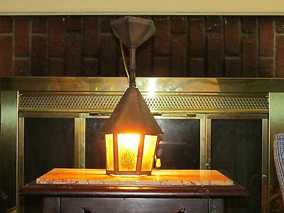 Vintage Rustic Gothic Tudor Hanging Porch Light Lantern, Copper for Restoration