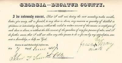 SLAVERY GEORGIA: License to sell liquor but not to slaves w/o consent of owner