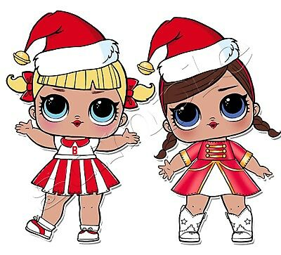 IRON ON TRANSFER MERRY CHRISTMAS LOL DOLL DOLLS SANTA CHEER CAPTAIN majorette