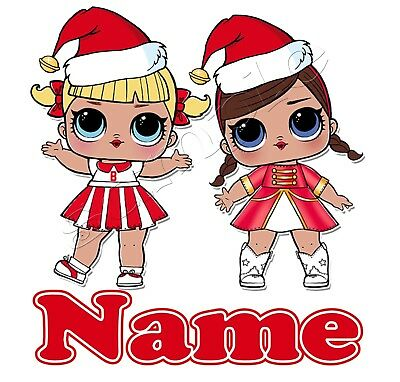 IRON ON TRANSFER PERSONALISED MERRY CHRISTMAS lol dolls doll 12x13cm
