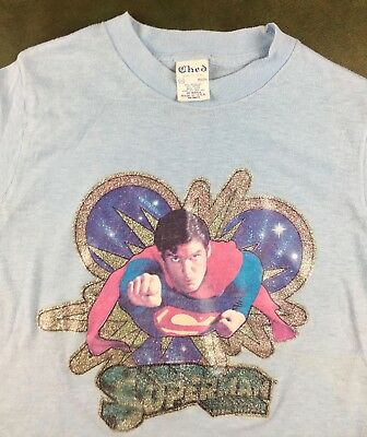 Vintage Youth M 1978 Superman The Movie Christopher Reeve Blue Transfer T-Shirt