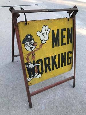 "Vintage Reddy Kilowatt Electric Company Men Working Road Sign ""ds"" + Htf Frame"