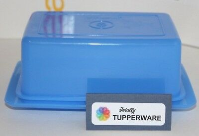TUPPERWARE Butter Dish 1 Pound 2 or 4 Stick Versatile Blue Container Holder NEW!