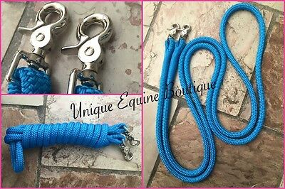 8ft Blue Rope Reins 12mm Thick Nickel Plated Snap Clips Horse Pony BNWT