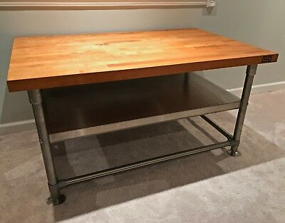 John Boos Maple Top Butcher Block Work Utility Table 30 x 48 Stainless Steel