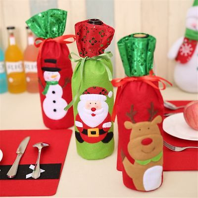 Lovely Santa Claus Red Wine Bottle Cover Bags Champagne Xmas Gift Table Decor