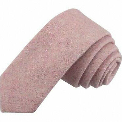 Vintage Pink Blush Mens Tweed / Wool Skinny Tie. Excellent Quality & Reviews. UK