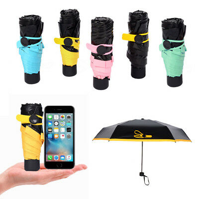 Mini Folding Lightweight Umbrella Compact Windproof Anti UV Rain Sun Parasol